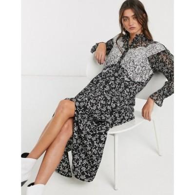 トップショップ レディース ワンピース トップス Topshop midi dress with lace insert in monochrome