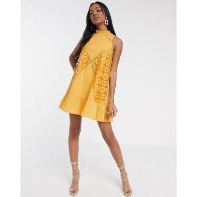 エイソス ASOS DESIGN レディース ワンピース ノースリーブ ミニ丈 ワンピース・ドレス sleeveless lace insert mini dress with pephem in mustard マスタード