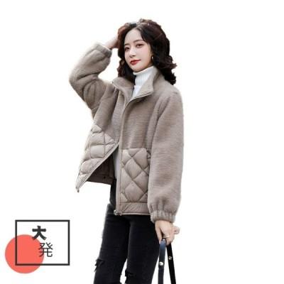 ジャケット レディースアウラー 中綿 暖かい ショート丈 中綿ジャケット 防寒 ブルゾン アウター 無地 シンプル シレー中綿