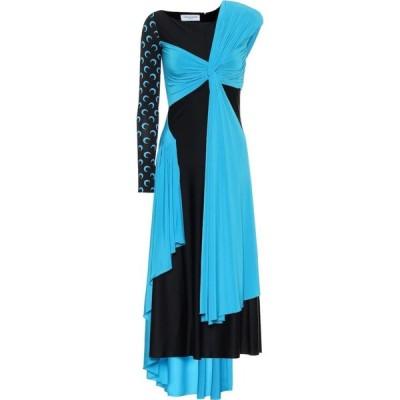 マリーン セル Marine Serre レディース ワンピース ミドル丈 ワンピース・ドレス Printed stretch-jersey midi dress Black, Blue, Aom Blue