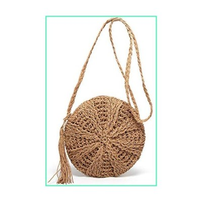 Teeya Straw Crossbody Bag Women Weave Shoulder Bag Round Summer Beach Purse and Handbags, Small Brown, Medium並行輸入品
