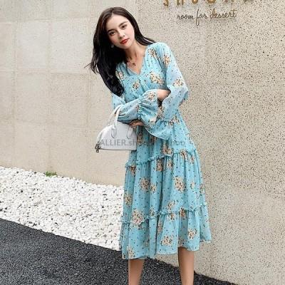 レディースファッション エレガントなVネックAライン女性のドレスフレア袖弾性ウエストミディ女性ドレス2019花柄シフォンドレスVestidosファム
