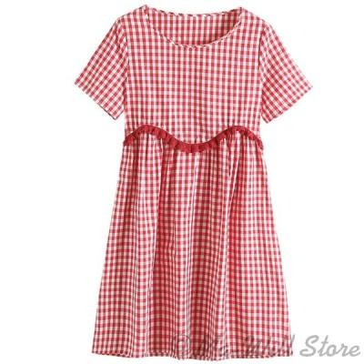 ワンピース レディース ドレス 半袖 膝丈 綿麻 ハイウェスト ゆったり 大きい お洒落 着痩せ お出かけ