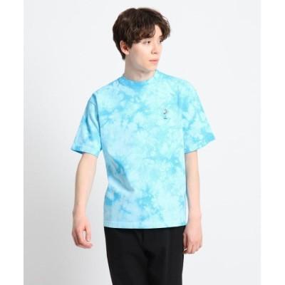 【デッサン】 強撚天竺 タイダイプリント刺繍Tシャツ メンズ ブルー 02(M) Dessin