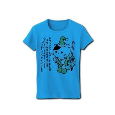 サンタ猫のNEKO太郎 リブクルーネックTシャツ(ターコイズ)