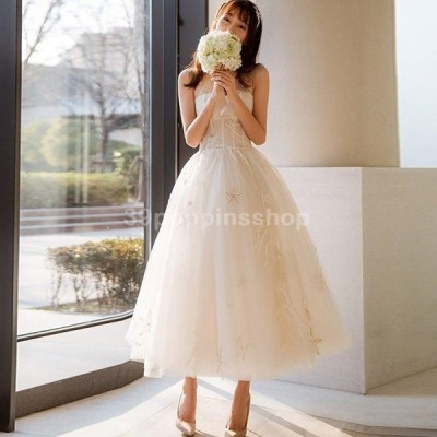 ホワイト 星柄 ミモレ丈 結婚式 花嫁 二次会ドレス ノースリーブ 背開き 編み上げ パーティードレス Aライン チュールドレス 20代 30代