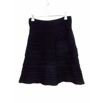 【中古】ルシェルブルー LE CIEL BLEU スカート フレア ミニ ニット 総柄 38 黒 ブラック /M2 レディース