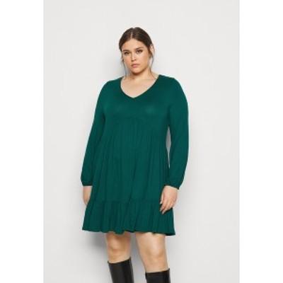 エヴァンス レディース ワンピース トップス FRILL HEM DRESS - Jersey dress - green green