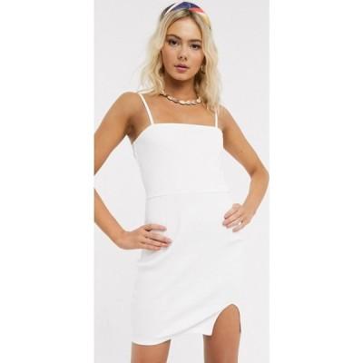 エイソス ASOS DESIGN レディース ワンピース ミニ丈 ワンピース・ドレス square neck rib mini dress with split in white ホワイト