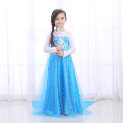 麗莎熊 LisaBear 韓版冰雪奇緣Elsa艾莎公主鑽石雪花刺繡款披風洋裝 童裝兒童小洋裝 表演服裝 特殊造型服裝