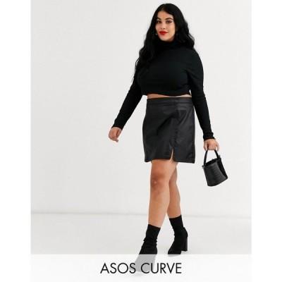 エイソス ASOS Curve レディース ミニスカート デニム スカート asos design curve denim coated mini skirt in black ブラック