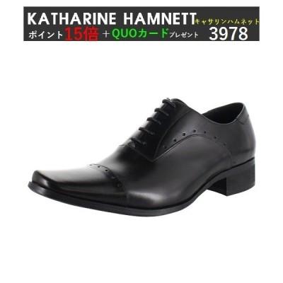即日発送可 ポイント15倍&QUOカードプレゼント キャサリンハムネット 3978 KATHARINE HAMNETT LONDON 本革 ビジネスシューズ 紳士靴 牛革 革靴 ブラック