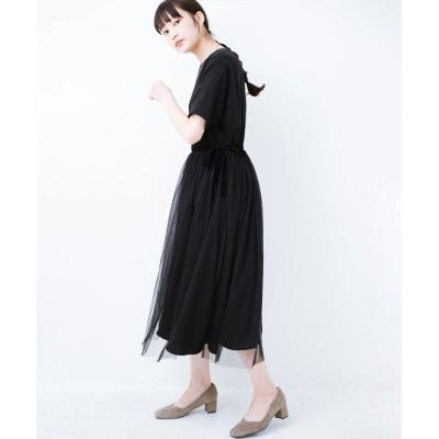 【ハコ】 結婚式や二次会に便利!チュールと重ねて華やか見えが叶うフォーマルワンピースと重ねスカートセット レディース ブラック L haco!
