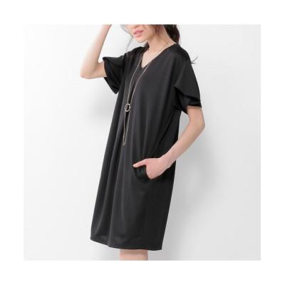 ネックレス付重ねスリーブVネックワンピース (ワンピース)Dress