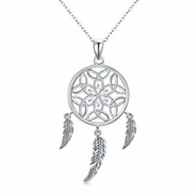 Trishula Dream Catcher Necklaces, 925 Sterling Silver Flower Dream Catchers Pendant Charm Jewelry for Mothers Day Gifts (Flower