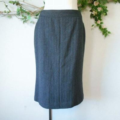 モガ MOGA 秋冬 向き ヘリンボーン 柄 ウール 100% ひざ丈 スカート 日本製 2