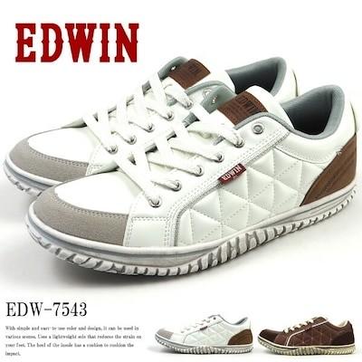 軽量紳士スニーカー メンズ EDWIN エドウィン EDW-7543 ローカット 軽量設計 幅広 3E相当 ヴィンテージ加工 シューレース