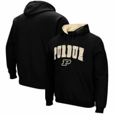 Colosseum コロセウム スポーツ用品  Colosseum Purdue Boilermakers Black Arch & Logo Tackle Twill Pullover Hoodie