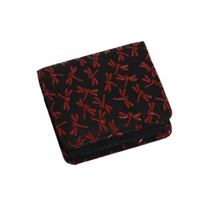 鹿革 印伝 BOX型 小銭入れ 財布 男女兼用 とんぼ柄 赤