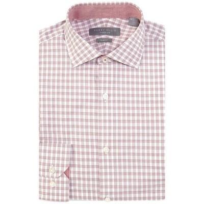 ペリーエリス メンズ シャツ トップス Premium Non-Iron Slim Fit Spread Collar Berry Plaid Dress Shirt