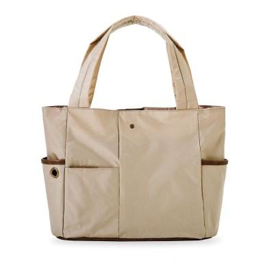 クラソ Kraso お弁当派さんにうれしい 大容量の保冷ポケット付き整理整とん軽量トートバッグ (グレージュ)