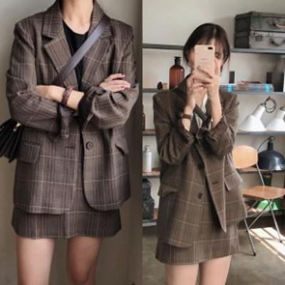 チェック セットアップ レディース ジャケット 韓国 ファッション レディース 秋服 可愛い セットアップ チェック柄 ジャケット スカート