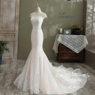 ウェディグドレス 前撮り 白 ウエディング パーティードレス 二次会 大きいサイズ 挙式 トレーン ロングドレス 結婚式 マーメイドライン