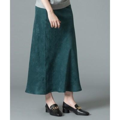 スカート 《洗える》カラーエコスエードナローロングスカート