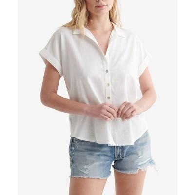 ラッキーブランド レディース シャツ トップス Women's Tie-Front Short Sleeve Shirt