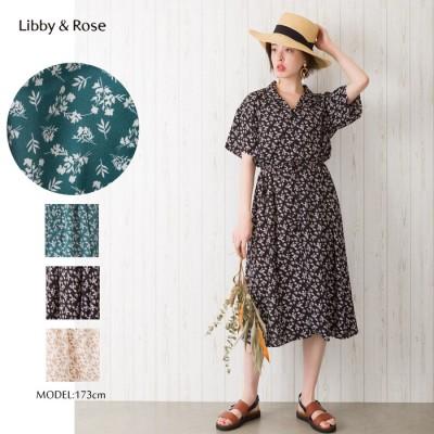 Libby&Rose 小花柄オープンカラーワンピース ホワイト M レディース