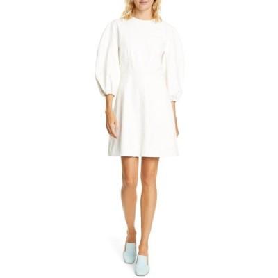 ティビ ワンピース トップス レディース Puff Sleeve Faux Leather Minidress White
