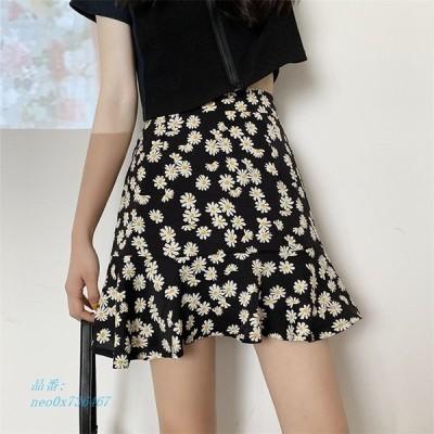レディース ショートスカート Aライン 花柄可愛い ミニスカート 女子 フレア ボトムス ハイウェスト
