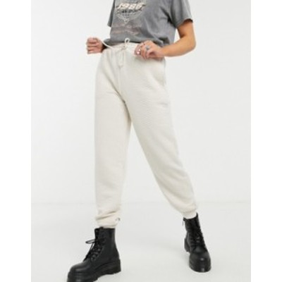 トップショップ レディース カジュアルパンツ ボトムス Topshop quilted sweatpants in ecru White