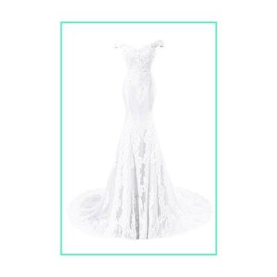 Sweet Bridal Women's Mermaid Off Shoulder Lace Long Evening Dress White US16並行輸入品