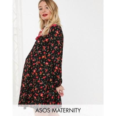 エイソス ASOS Maternity レディース ワンピース マタニティウェア ワンピース・ドレス ASOS DESIGN Maternity shirt smock dress in mixed print