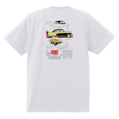 アドバタイジング フォード Tシャツ 白 1057 黒地へ変更可 1950 ビクトリア クレストライナー シューボックス f1 ホットロッド ロカビリー