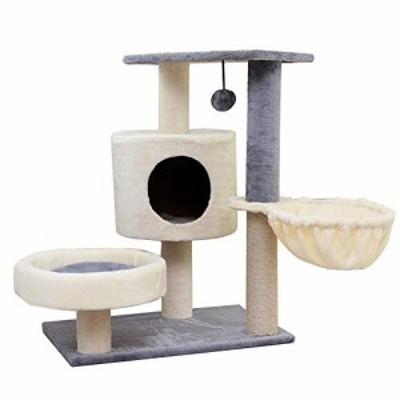 猫タワー 猫ネット猫スクラッチポストタワーツリー猫研削クロー冬暖かい猫 (新古未使用品)