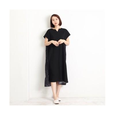 MARTHA(マーサ)異素材使いキーネックロングワンピース (ワンピース)Dress