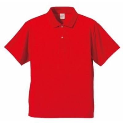 ポロシャツ 半袖 メンズ ドライ アスレチック 4.1oz L サイズ レッド 無地 ユナイテッドアスレ CAB