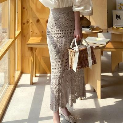 レーススカート クロシェ編み ロングスカート 春 夏 透かし編みスカート