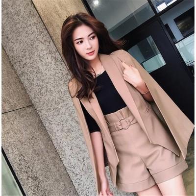 華やかな印象に‼ 韓国ファッション CHIC気質 大人気 おしゃれな 新品 減齢 スリムフィット ポンチョ ショートパンツ スーツ コート 2点セット