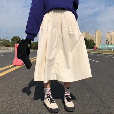 【送料無料】ロングスカート レディース ボトムス 無地 ベージュ フレア 大きいサイズ 人気  シンプル カジュアル オシャレ 活発 ファッション