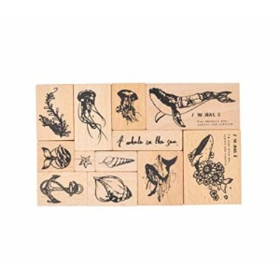 MissOrange『木製ゴム印セット』 花のスタンプ 鯨 クリエイティブスタンプセット クラフトカード スクラップブッキング 手帳用 12個セッ