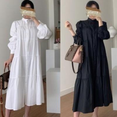 【最大2000円offクーポン】ゆったり着れるハイネックパフスリーブがフェミニンなティアードワンピース
