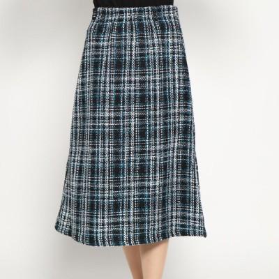 スタイルブロック STYLEBLOCK オーバーチェックフロントジップスカート (ターコイズ)