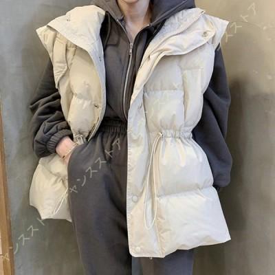 レディース ダウンベスト ショット丈 ジッパー 韓国ファッション 綿入れ ベスト 防寒 防風 アウター 袖なし ノースリーブ 中綿コート 大きいサイズ