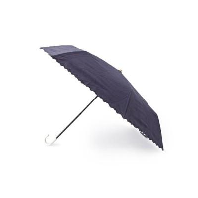 グローブ grove リボンスカラ刺しゅう晴雨兼用折り畳みパラソル (ネイビー)