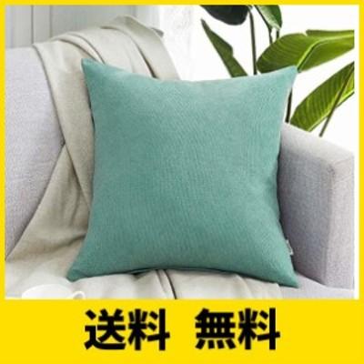 Topfinel クッションカバー リネンっぽい 60x60cm 北欧 おしゃれ 綿麻 無地 ソファ背当て 装飾枕カバー 座布団カバー 浅いブルー 1