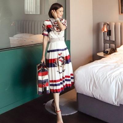 大きいサイズ ワンピース 大きいサイズ ロングワンピース ミモレ丈ワンピース 上品 韓国 ファッション ワンピース ドレス 半袖 プリーツスカート ta7128