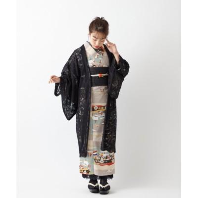 【ふりふ】 スカラレースペイズリー羽織 レディース ブラック FREE FURIFU